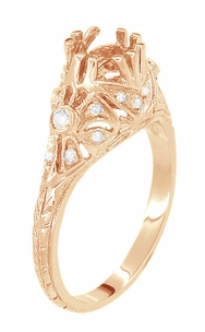 Antique Style Filigree Edwardian Engagement Ring Semimount for a 1 Carat Diamond in 14 Karat Rose ( Pink ) Gold - Item R6791R - Image 1