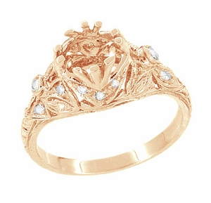 Antique Style Filigree Edwardian Engagement Ring Semimount for a 1 Carat Diamond in 14 Karat Rose ( Pink ) Gold - Item R6791R - Image 4