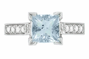 Art Deco 3/4 Carat Princess Cut Aquamarine and Diamond Engagement Ring in 18 Karat White Gold - Click to enlarge