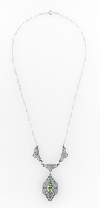 Art Deco Filigree Peridot Dangle Drop Pendant Necklace in Sterling Silver - Item N124PER - Image 1