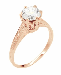 Art Deco 1 Carat Crown Filigree Engagement Ring Setting in 18 Karat Rose ( Pink ) Gold - Item R199R - Image 2