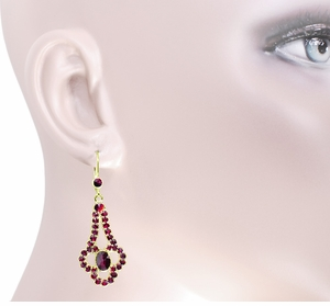 Victorian Bohemian Garnet Drop Earrings in 14 Karat Yellow Gold and Sterling Silver Vermeil - Item E140 - Image 2