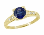 Art Deco Blue Sapphire and Diamonds Engraved Engagement Ring in 18 Karat Yellow Gold