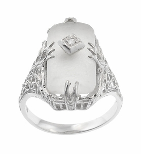 Art Deco Filigree Camphor Crystal Ring with Diamond Center in 14 Karat White Gold - Item R1126 - Image 1
