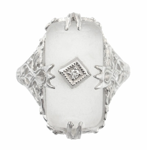 Art Deco Filigree Crystal and Diamond Set Ring in 14 Karat White Gold - Item R1126 - Image 2