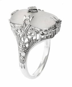 Art Deco Filigree Crystal and Diamond Set Ring in 14 Karat White Gold - Item R1126 - Image 3