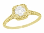 Filigree Scrolls 1/3 Carat Diamond Art Deco Engraved Engagement Ring in 14 Karat Yellow Gold