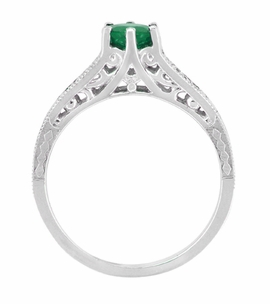 Art Deco Emerald and Diamond Filigree Engagement Ring in 14 Karat White Gold - Click to enlarge