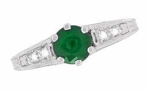 Art Deco Emerald and Diamond Filigree Engagement Ring in 14 Karat White Gold - Item R206 - Image 4