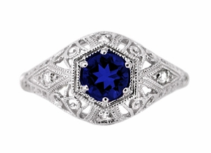 Edwardian Sapphire and Diamonds Scroll Dome Filigree Engagement Ring in Platinum - Item R234P - Image 1