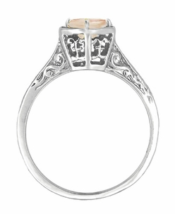 Art Deco Morganite Engraved Filigree Ring in 14 Karat White Gold - Click to enlarge