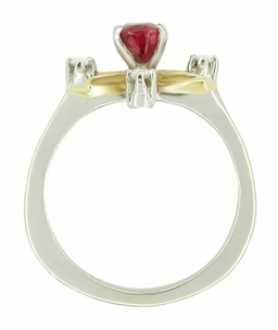 "Retro Moderne Ruby and Diamond Galaxy ""Right Hand"" Vintage Ring in 14 Karat Yellow and White Gold - Click to enlarge"