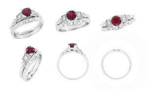 Ruby and Diamond Art Deco Engagement Ring in 18 Karat White Gold - Item R207 - Image 5