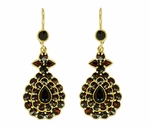 Victorian Bohemian Garnet Teardrop Earrings in 14K Yellow Gold and Sterling Silver Vermeil
