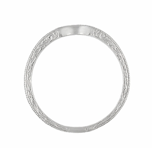 Art Deco Scrolls Engraved Curved Wedding Band in 18 Karat White Gold - Item WR199W50 - Image 4