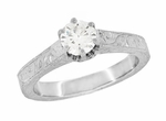 Art Deco Crown Filigree Scrolls Engraved 1/3 Carat Solitaire Diamond Engagement Ring in 18 Karat White Gold