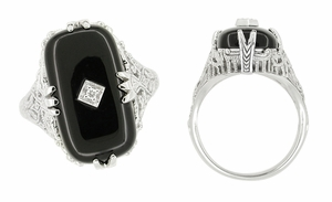 Art Deco Filigree Onyx and Diamond Set Ring in 14 Karat White Gold - Click to enlarge