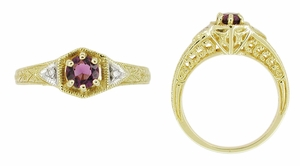 Art Deco Amethyst and Diamond Filigree Engagement Ring in 14 Karat Yellow Gold - Click to enlarge