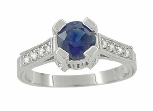 Art Deco Blue Sapphire Engraved Castle Engagement Ring in 18 Karat White Gold - Click to enlarge