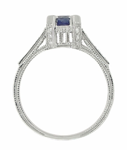 Art Deco Blue Sapphire Engraved Castle Engagement Ring in 18 Karat White Gold - Item R663S - Image 4