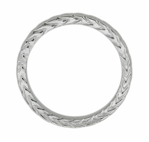 Art Deco Carved Wheat Pattern Wedding Band in 14 Karat White Gold - Item R622 - Image 1