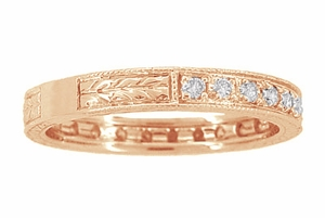 Art Deco Engraved Wheat Diamond Eternity Wedding Band in 14 Karat Rose ( Pink ) Gold - Item R678R - Image 2
