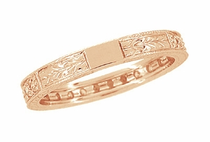 Art Deco Engraved Wheat Diamond Eternity Wedding Band in 14 Karat Rose ( Pink ) Gold - Item R678R - Image 3