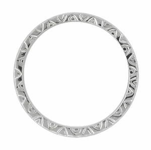 Mardi Gras Retro Wedding Band in 14 Karat White Gold - Item R624 - Image 1