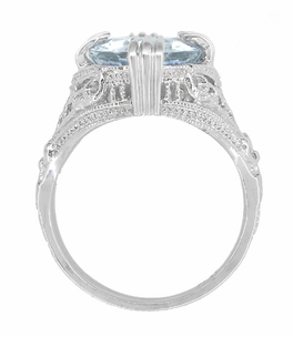 Oval Aquamarine Art Deco Filigree Ring in Platinum - March Birthstone - Item R157PA - Image 3