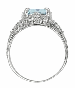 Edwardian Filigree Emerald Cut Blue Topaz Ring in Sterling Silver - Click to enlarge
