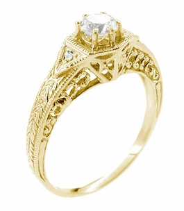 Art Deco White Sapphire Filigree Engraved Engagement Ring in 14 Karat Yellow Gold - Item R149YWS - Image 1