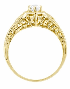 Art Deco White Sapphire Filigree Engraved Engagement Ring in 14 Karat Yellow Gold - Click to enlarge