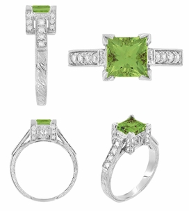 Art Deco 1 Carat Princess Cut Peridot and Diamond Engagement Ring in Platinum - Click to enlarge