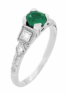 Art Deco Diamonds and Emerald Engagement Ring in Platinum - Item R155P - Image 2