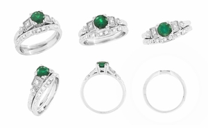 Art Deco Diamonds and Emerald Engagement Ring in Platinum - Click to enlarge