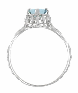 Art Deco Emerald Cut Aquamarine Filigree Engagement Ring in 18 Karat White Gold - Click to enlarge