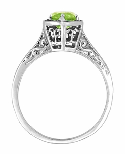 Art Deco Peridot Engraved Filigree Ring in 14 Karat White Gold - Click to enlarge