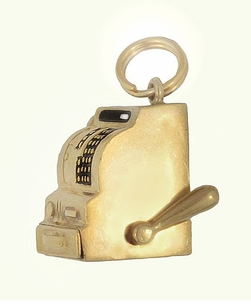 Moveable Vintage Cash Register Charm in 14 Karat Yellow Gold - Item C616 - Image 1