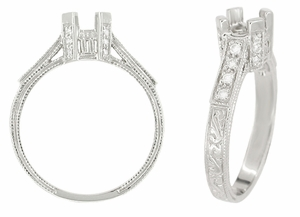 Art Deco Castle 1/3 Carat Diamond Filigree Engagement Ring Semi Mount in 18 Karat White Gold - Item R714 - Image 1
