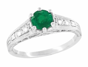 Art Deco Emerald and Diamond Filigree Engagement Ring in Platinum - Item R206P - Image 1