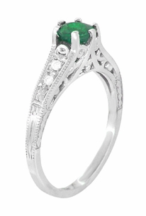 Art Deco Emerald and Diamond Filigree Engagement Ring in Platinum - Click to enlarge