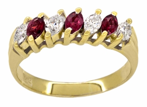 Marquise Ruby and Diamonds Estate Anniversary Band in 18 Karat Yellow Gold - Item R1107 - Image 1