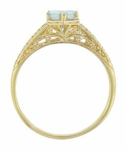 Art Deco Scrolls and Wheat Aquamarine Solitaire Filigree Engraved Engagement Ring in 18 Karat Yellow Gold - Click to enlarge