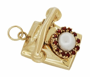 Moveable Vintage Telephone Pendant Charm in 14 Karat Yellow Gold With Pearl - Click to enlarge
