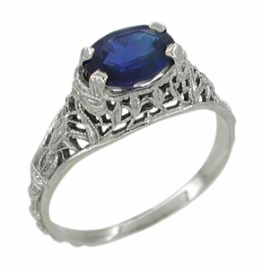 Edwardian Oval Sapphire Ring in 14 Karat White Gold - Click to enlarge