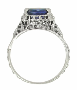 Edwardian Oval Sapphire Ring in 14 Karat White Gold - Item R614 - Image 2