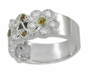 Spessartite Garnet and White Diamond Floral Wedding Band in 14 Karat White Gold - Click to enlarge