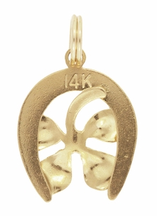 Lucky 4-Leaf Clover in Horseshoe Charm in 14 Karat Yellow Gold - Click to enlarge