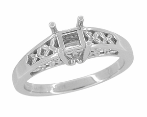 Flowers and Leaves Filigree Engagement Ring Setting for a 1 Carat Princess, Radiant, or Asscher Cut  Diamond in 14 Karat White Gold - Click to enlarge