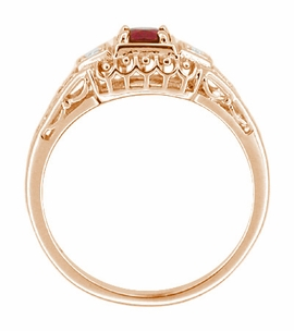 Art Deco Filigree Ruby and Diamond Engagement Ring in 14 Karat Rose Gold - Click to enlarge